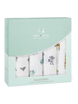 Aden + Anais Muslin Swaddles Jungle Jam 4pk