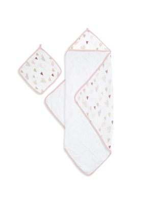 Aden + Anais Muslin Backed Hooded Towel Set Heartbreaker