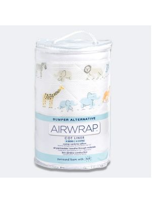 Airwrap Cot Liner Muslin 4 Sides Safari March Multi
