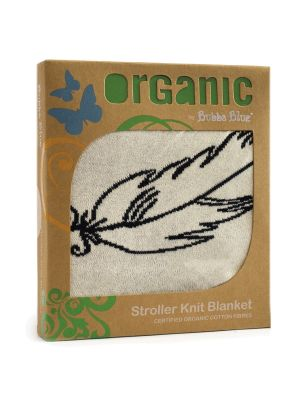 Bubba Blue Feathers Organic Cotton Stroller Knit Blanket