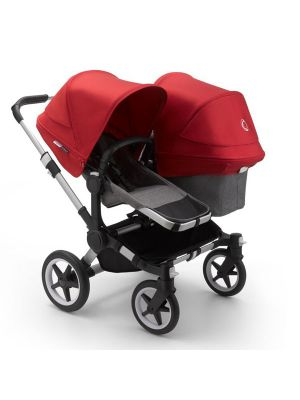 Bugaboo Donkey 3 Duo Stroller Aluminium/Grey Melange-Red - Due Early April 2020