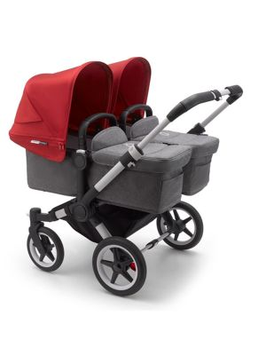 Bugaboo Donkey 3 Twin Stroller Aluminium/Grey Melange-Red - Due Early April 2020