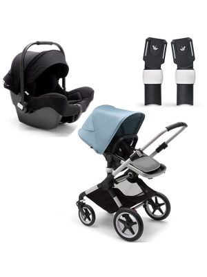 Bugaboo Fox 2 Pram Aluminium Chassis - MIX AND MATCH SPECIAL EDITION TRAVEL SYSTEM (Includes Turtle Car Seat & Adaptors) + BONUS Bugaboo Smartphone Holder and Bugaboo Seat Liner Fresh White valued at $155