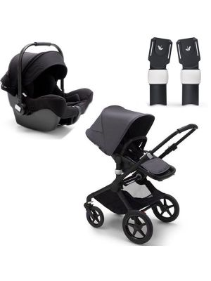 Bugaboo Fox 2 Complete Black/Steel Blue - Steel Blue TRAVEL SYSTEM (includes Turtle Car Seat & Adaptors) + BONUS Bugaboo Smartphone Holder and Bugaboo Seat Liner Fresh White valued at $155