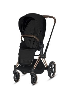 Cybex Priam 2020 Pram with Rose Gold Chassis & Stardust Black Seat + BONUS Cybex Platinum Snack Tray valued at $104.95