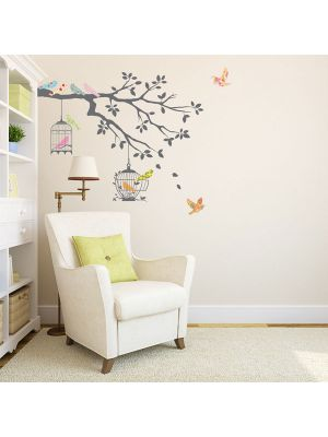 Decowall Birds of Tree Branch with Bird Cages Wall Stickers Grey