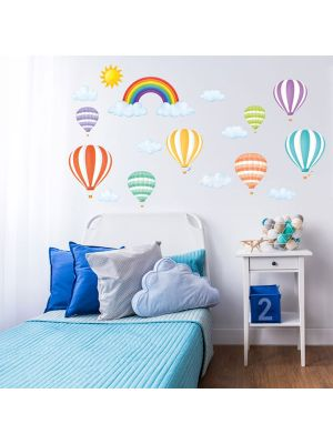 Decowall Rainbow and Hot Air Balloons Wall Stickers