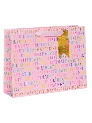 Waterlyn Glick Birthday Script Collection Pink Gift Bag