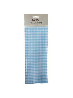 Waterlyn Glick Gingham Blue Tissue Paper 4 Sheets
