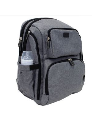 La Tasche Iconic Nappy Bag Grey With Black Trim