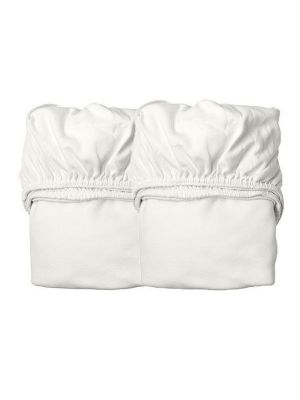 Leander Organic Fitted Cot Sheets 2pk Snow