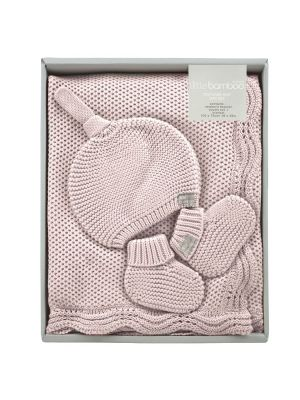 Little Bamboo Textured Knit Gift Set Dusty Pink