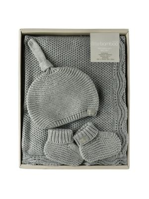 Little Bamboo Textured Knit Gift Set Marl Grey