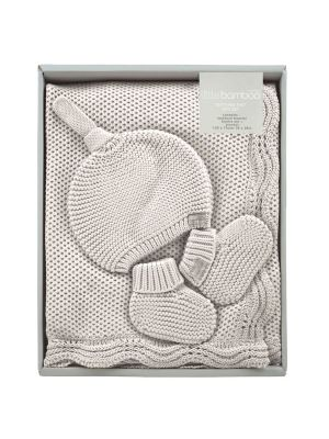 Little Bamboo Textured Knit Gift Set Natural