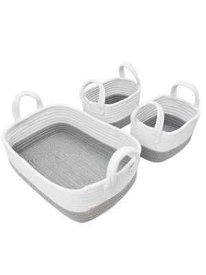 Living Textiles Cotton Rope Basket 3pc Grey