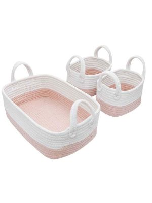 Living Textiles Cotton Rope Basket 3pc Pink