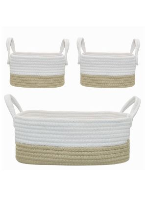 Living Textiles Cotton Rope Basket 3pc Natural/White