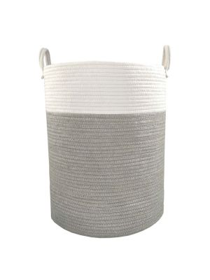 Living Textiles Cotton Rope Hamper Grey/White