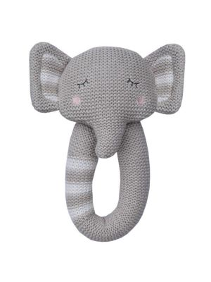 Living Textiles Knitted Rattle Eli the Elephant