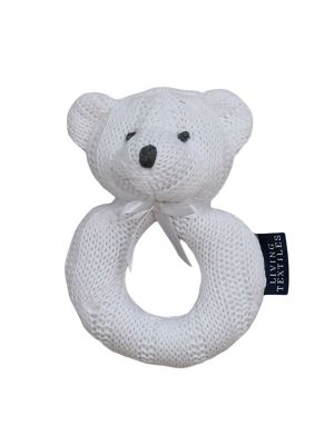 Living Textiles Rattle Bear White