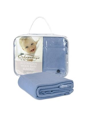 Onkaparinga Wool Cot Blanket Blue