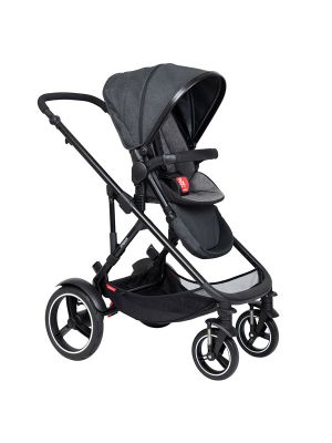 Phil&Teds Voyager V6 Black with Charcoal Cushy Ride Liner