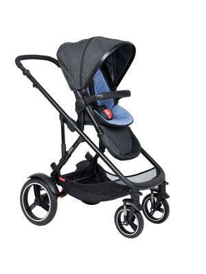 Phil&Teds Voyager V6 Black with Sky Cushy Ride Liner