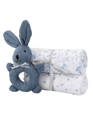 Sheridan Alodie Gift Set (2 Wraps & Teething Toy Summer & Sea) Blue