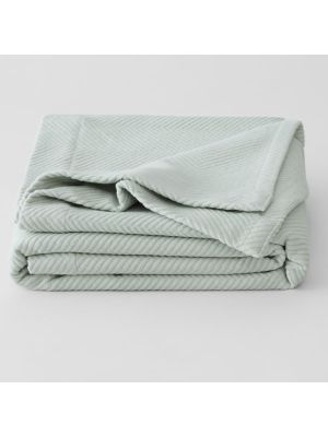 Sheridan Cotton Plush Cot Blanket Spearmint