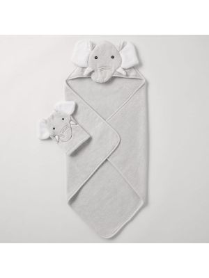 Sheridan Echoe Novelty Hooded Towel & Mitt Set Platinum