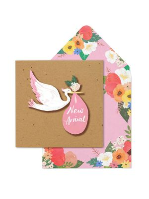 Waterlyn Tache New Arrival Pink Stork Greeting Card