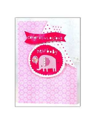 Waterlyn New Baby Girl Elephant Greeting Card