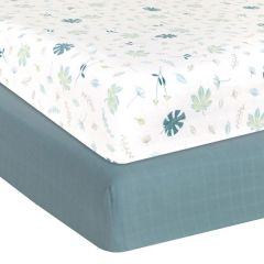 Living Textiles Organic Muslin 2pk Cot Fitted Sheets Banana Leaf/Teal