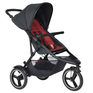 Phil&Teds Dash V6 Black with Chilli Cushy Ride Liner - Online Only!