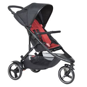 Phil&Teds Dot V6 Black with Chilli Cushy Ride Liner - Online Only!