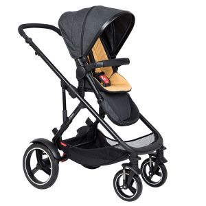 Phil&Teds Voyager V6 Black with Butterscotch Cushy Ride Liner - Online Only!