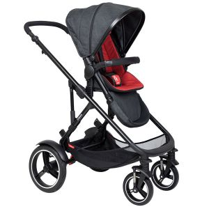 Phil&Teds Voyager V6 Black with Chilli Cushy Ride Liner - Online Only!
