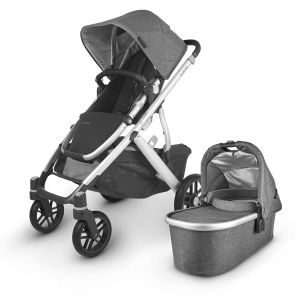 UPPAbaby VISTA V2 with Bassinet Charcoal Melange (Jordan) + BONUS Upper Adaptor + BONUS UPPAbaby Carry All Organiser & Zazu Sleeptrainer SAM Grey & Zazu wall light with plush – total value $239