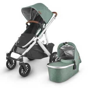UPPAbaby VISTA V2 with Bassinet Green Melange (Emmett) + BONUS Upper Adaptor + BONUS UPPAbaby Carry All Organiser & Zazu Sleeptrainer SAM Grey (total value $149)